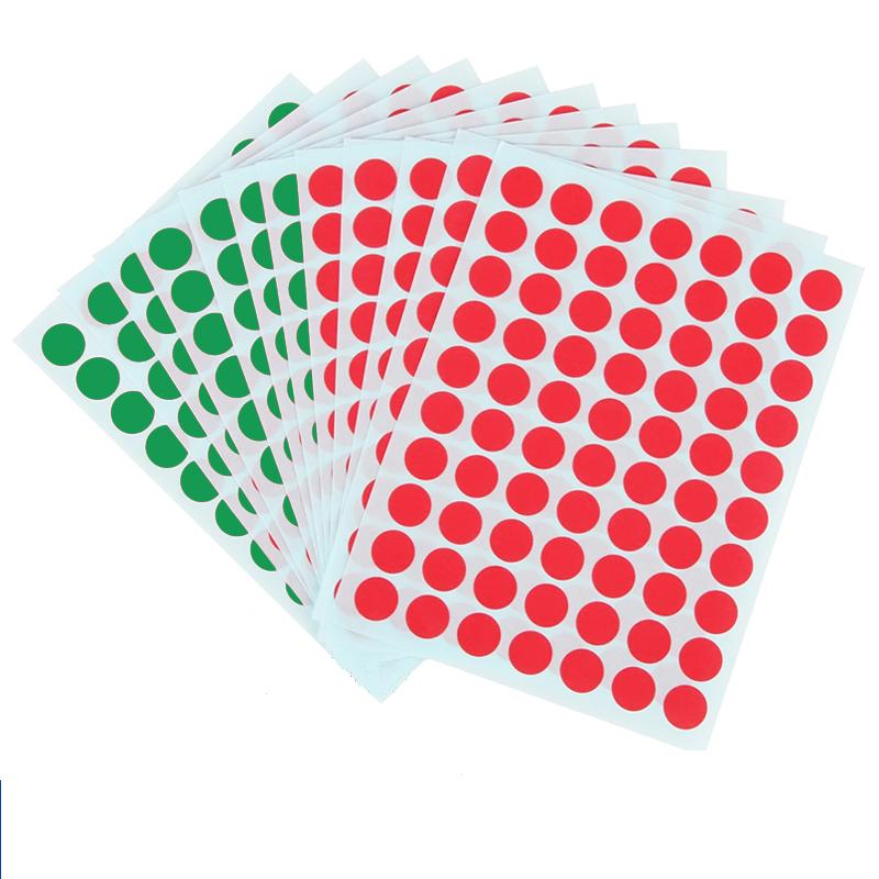 12Sheets Dia 1cm Dot Red Green Round Sticker Labels Self Adhesive Paper Sticky Dot Easy To Write Distinguish Label Office 6419