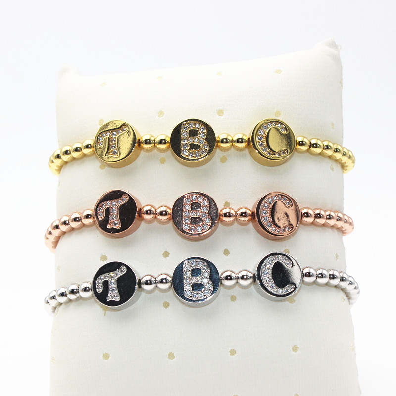 2016 Charm Brand 4mm Round Beads & Pave Setting CZ The Billionaires Club (TBC) Letter Be ...