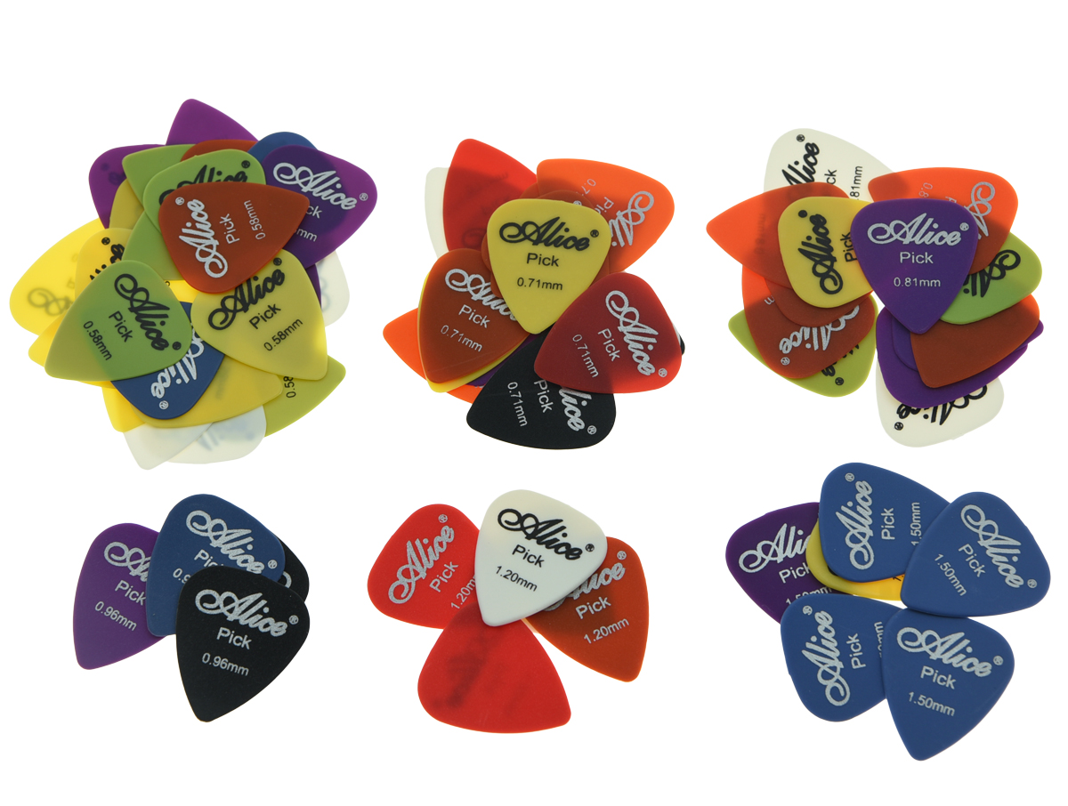 50pcs Alice Matte Nylon Guitar Picks Plectrums Assorted Colors Thickness 0.58/0.71/0.81/0.96/1.2/1.5 alice plastic guitar picks 12 pack