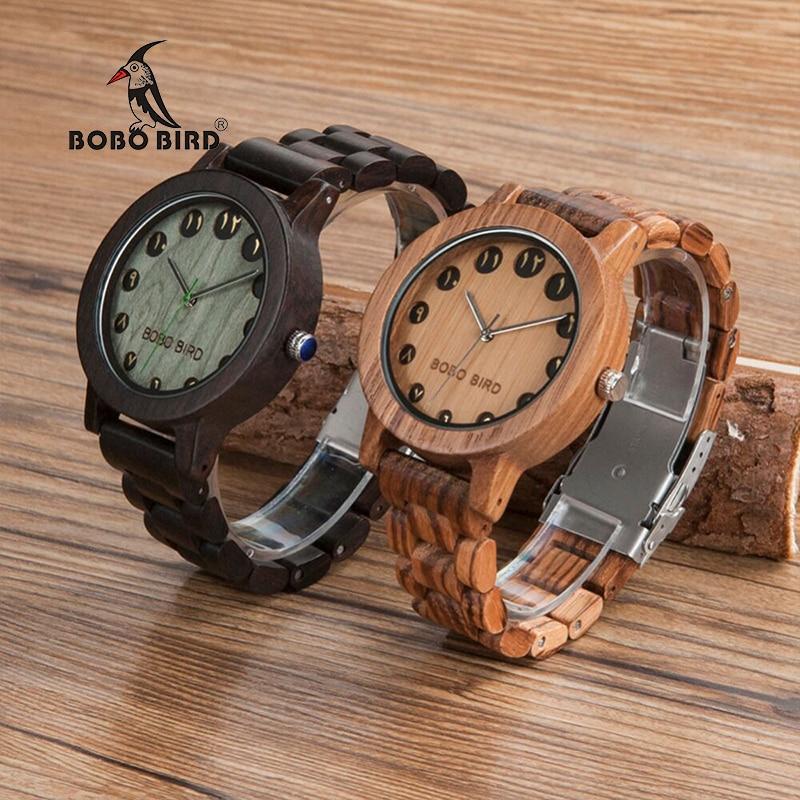 BOBO BIRD Wooden Men's Wristwatch Fashion Persian Fars Arabic Number Casual Quartz Watch with Wooden Band as Birthday Gift