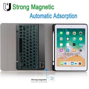 Image 4 - Rétro éclairé Bluetooth clavier étui pour iPad 9.7 2017 2018 étui avec porte crayon pour iPad Air 1 2 5th 6th génération Pro 9.7 couverture