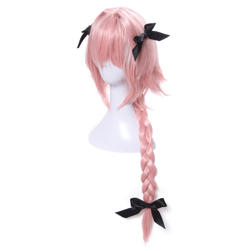 Image 2 - L email wig New Arrival Game Fate Apocryph Astolfo Cosplay Wigs Long Pink Heat Resistant Synthetic Hair Halloween Cosplay Wig-in Synthetic None-Lace  Wigs from Hair Extensions & Wigs