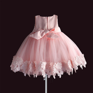 Image 2 - new born baby girl dress pink lace baby wedding party ball gown pearl sleeveless girls christmas clothes vestido infantil 6M 4Y