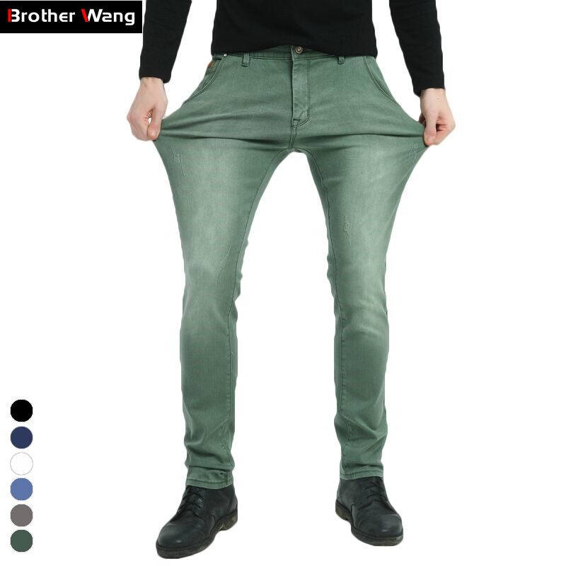 Brother Wang Brand 2019 New Men's Elastic Jeans Fashion Slim Skinny Jeans Casual Pants Trousers Jean Male Green Black Blue