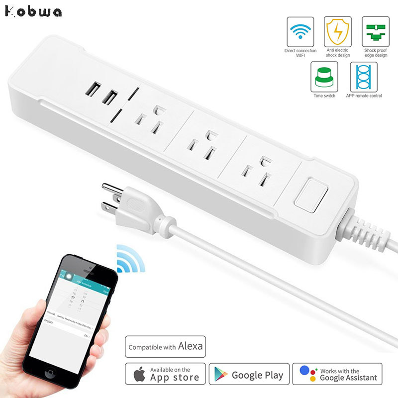 WiFi Smart Power Strip Plug Socket with 3 Outlets 2 USB Work for Alexa for google home Remote Control US Timer