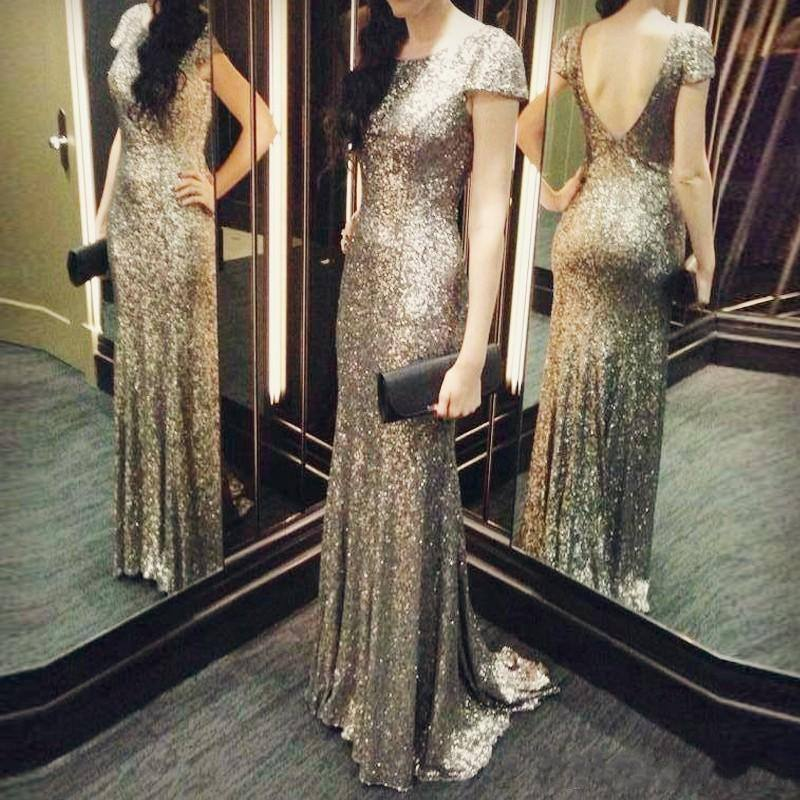 Vintage Country Formal   Bridesmaids     Dresses   Short Sleeves Backless Mermaid Rose Gold Sequins Long   Bridesmaid   Guest Party Gowns