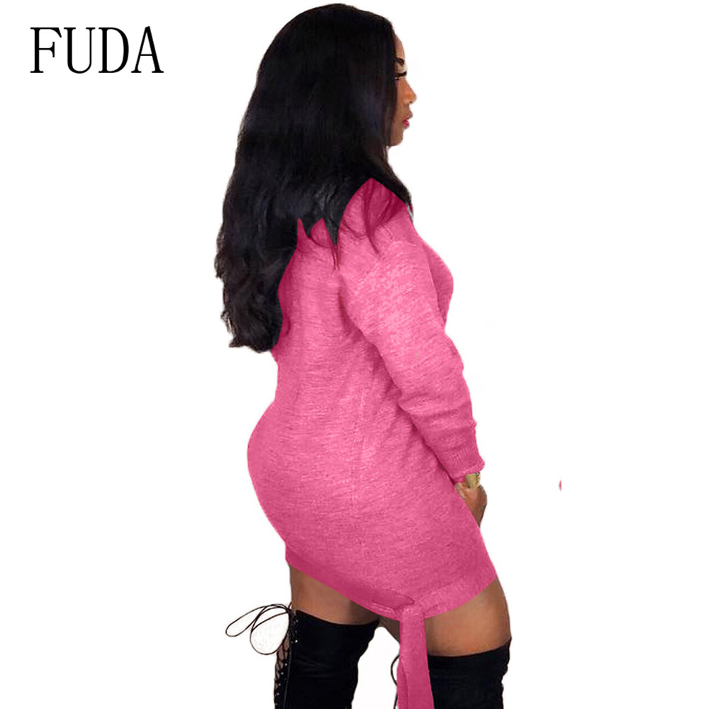 FUDA New Urban Fashion Casual Long Sleeve Women 39 s Lace up Dress Elegant O Neck Autumn Mini Short Dress Femme Vestidos De Verano in Dresses from Women 39 s Clothing