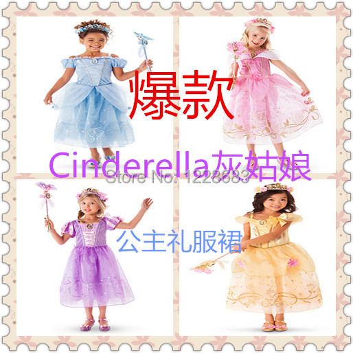 Children Dresses Girls Princess Belle Aurora Rapunzel Princesa Sofia Cinderella Dress Fantasia Vestido De Princesa