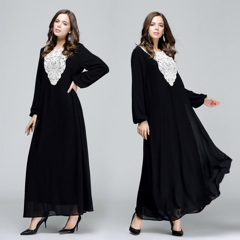 (5 colors) 2018 Fashion Arabia Islamic Muslim Abaya Long Sleeve costume fancy Dress Ethnic clothing