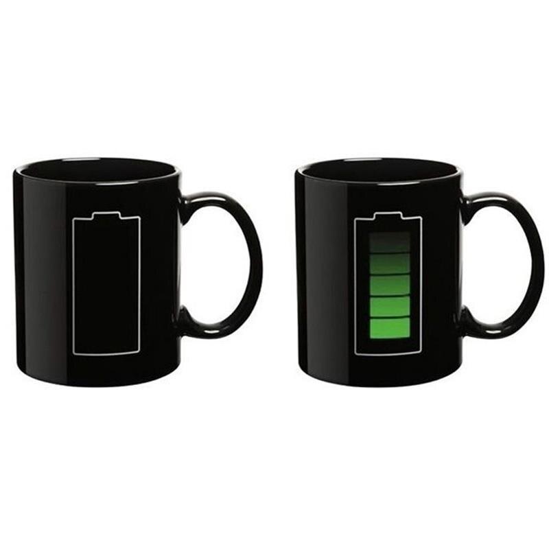 Geek Creative Battery Status Display Mug Colour Change Heat Reactive Cup Milk Coffee Magic Mugs Battery Charging Special Gift