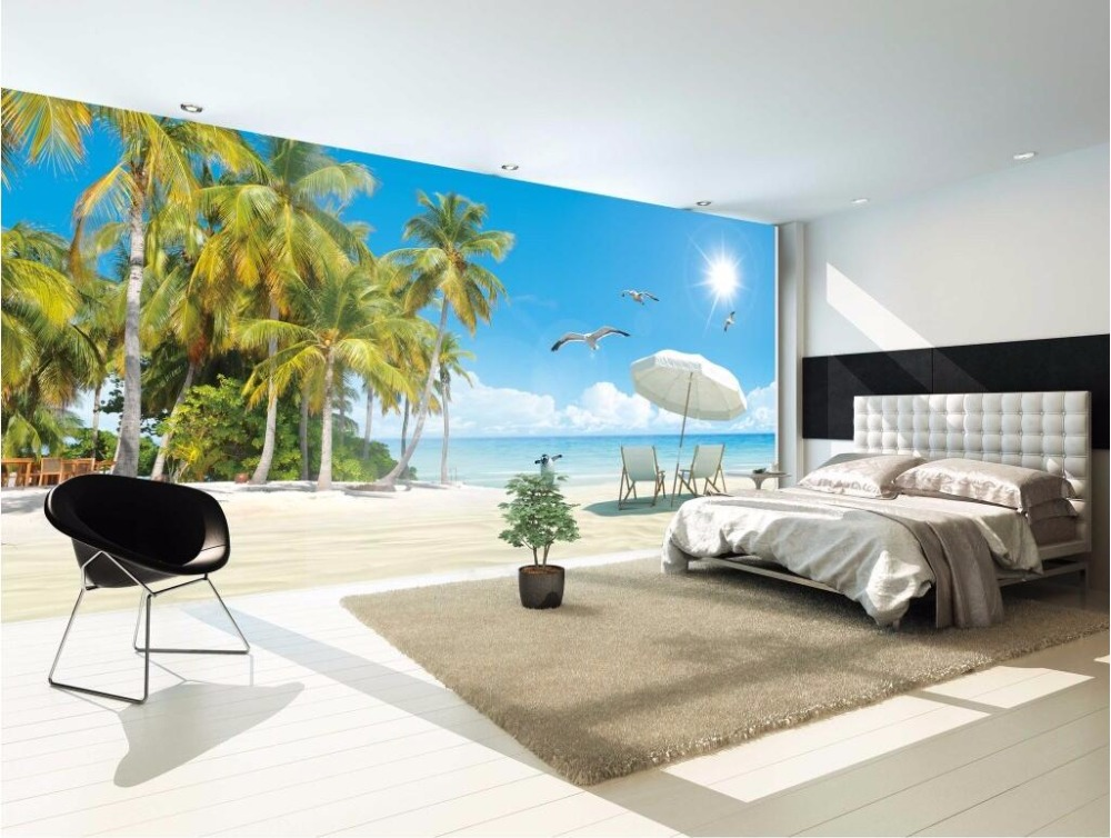 Custom mural 3d photo wallpaper sea coconut palm beach painting picture 3d wall murals wallpaper for living room walls 3 d 3d wall murals wallpaper for living room walls 3 d photo wallpaper sun water falls home decor picture custom mural painting