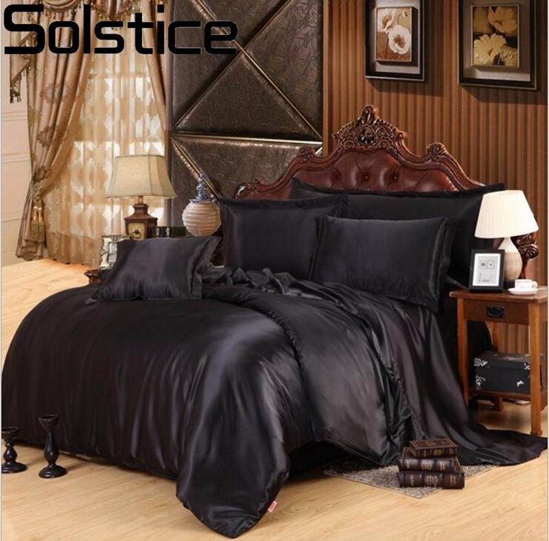 Solstice Black white solid color Solid Satin 4Pcs Bedding Set Queen/King Size Luxury Bedclothes Bed Linen Duvet Cover Bed Sheet
