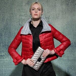Image 3 - Ynzzu 뜨거운 판매 새로운 여성 울트라 라이트 다운 재킷 패션 짧은 슬림 코트 여성 오버코트 도매 드롭 배송 ao021