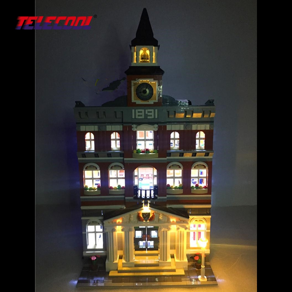 TELECOOL LED Light Building Blocks Toy (Only light set) For Creators The town hall Model Lepin 15003 Compatible with 10224 lepin 15003 2859pcs city creator town hall sets model building kits set blocks toys for children compatible with 10024