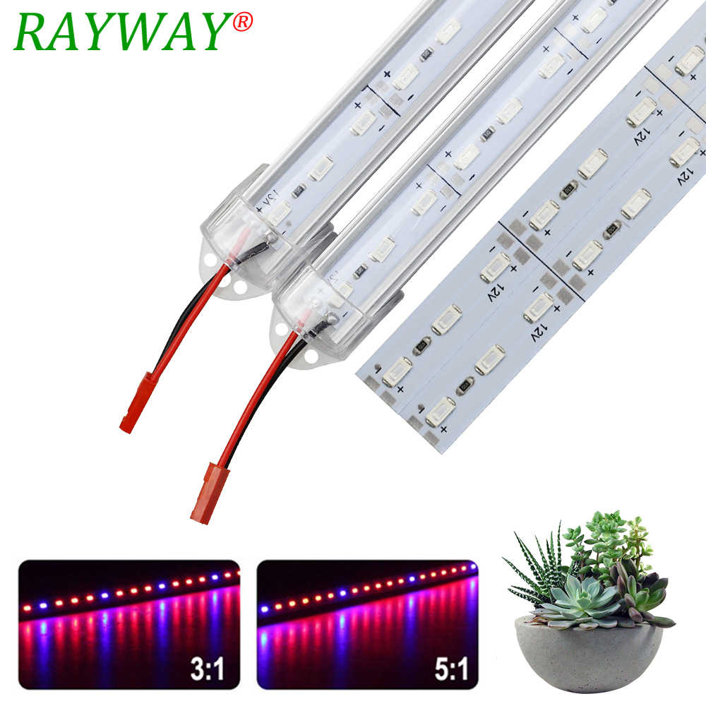 LED Grow Light DC12V 5730 SMD 50cm LED Bar planta lámpara 36LED rojo azul luz para acuario interior cultivo de plantas de carpa de invernadero