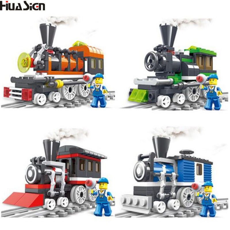 2017 Brand Educational Assembled Train Track Model Building Blocks Kit DIY City Rail Bricks Toys for Children Christmas Gift купить в Москве 2019