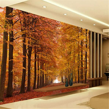3d Custom Modern Photo Walllpaper Any Size Customed Landscape Maple Forest  Wall Mural Autumn Sun Set Wallpaper For Home Decor Part 44