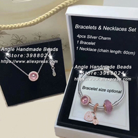 6pcs Fashion Jewelry Set Rose Gold Love Lock Series CZ Dangle Charms and Bracelet Necklaces Set Jewelry Making Woman Gift