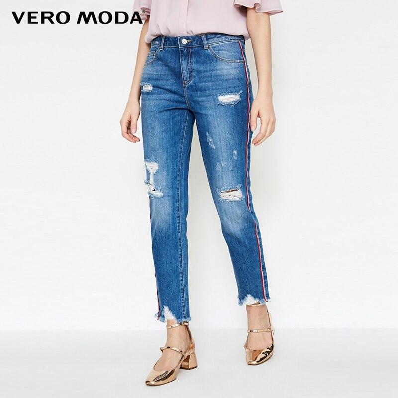 Vero Moda frayed hem cropped jeans|318149577