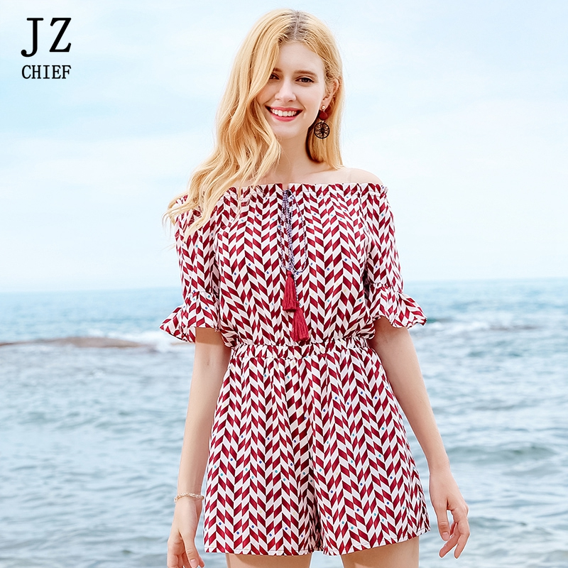 JZ CHIEF Red Striped Playsuits womens 2018 Summer Tassel Slash Neck Chiffons Jumpsuits Casual Plus Size off the shoulder Rompers