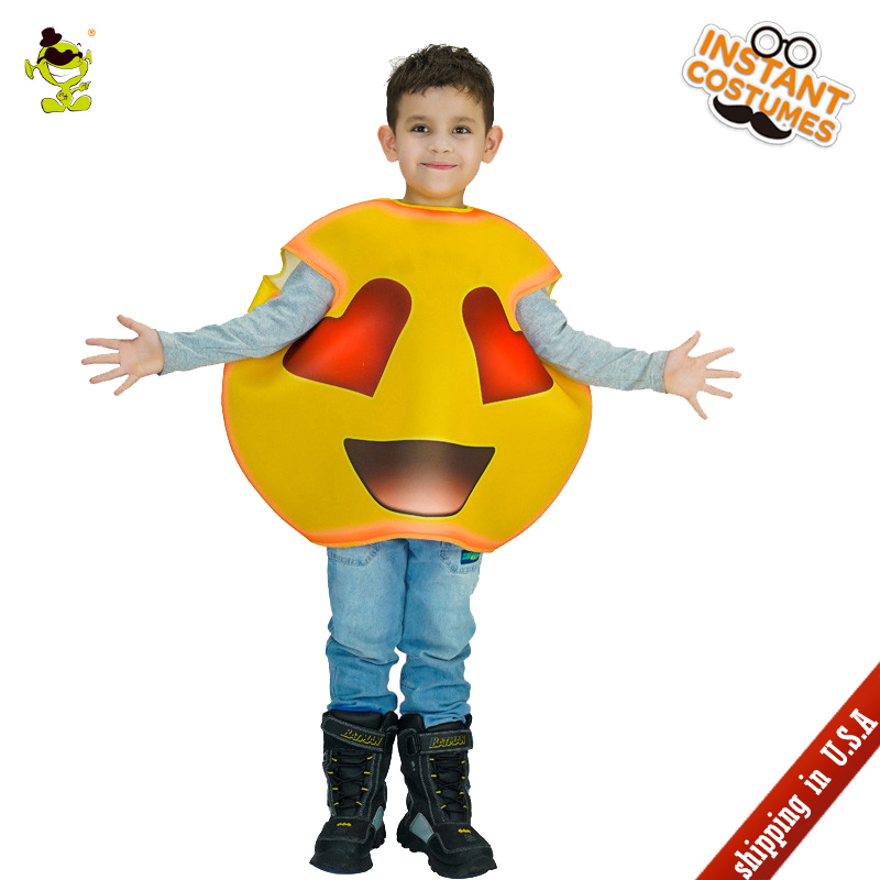 QLQ Kids Heart Emoji Costume Performance Carnival Party Emoticon Jumpsuit Role Play Halloween Cute Red Heart Emoji For Child
