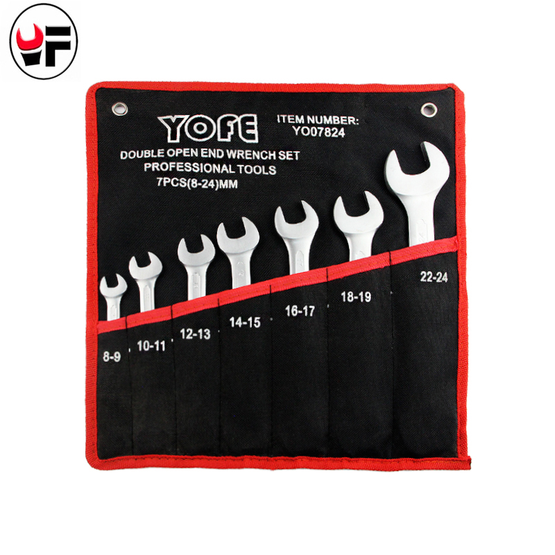 YOFE Double Open End Concave rib tool wrench canvas Bag 7PCS/set Spanner wrench high quality car tools wrench hand tools chrome vanadium steel ratchet combination spanner wrench 9mm