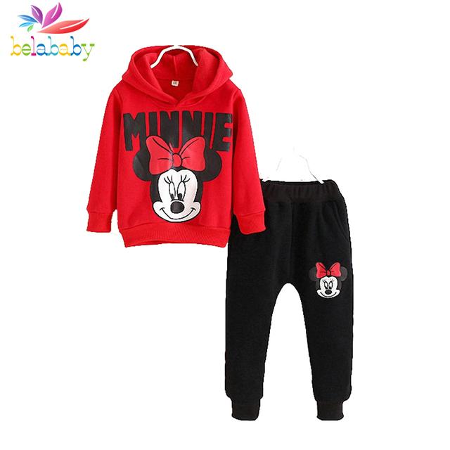 Belababy meninas outono conjunto de roupas novas crianças dos desenhos animados manga comprida com capuz camisolas + calças 2 pcs roupa dos miúdos do esporte quente terno