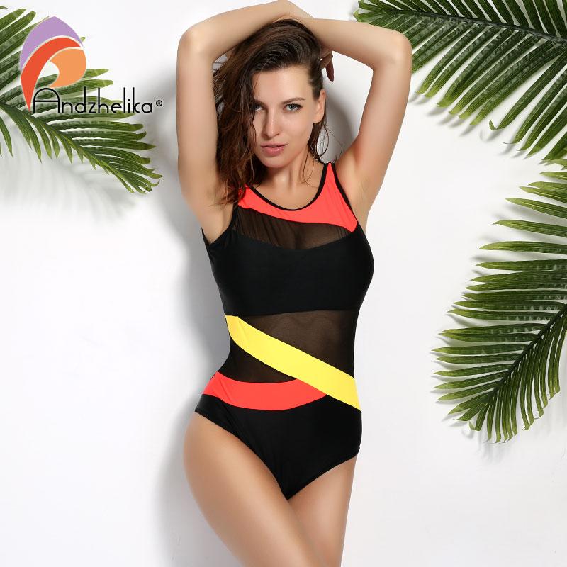 Andzhelika 2017 New Sports Sexy Swimwear Women Swimsuit Soft Cup  Mesh Solid Patchwork Stripe Swim Suit U-Shaped Back Swimsuit