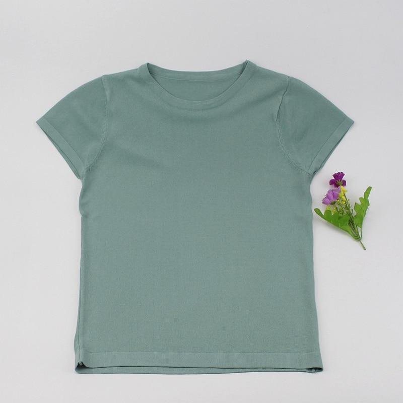 ONLYSTAR Knitted High Elasticity Round-neck Short Sleeves Women Top