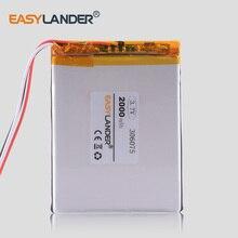 3 линии 306075 3,7 в 2000 мАч литий-полимерный литий-ионный аккумулятор для gps планшетных ПК PocketBook 306075PL 4G-15/4K-19 электронная книга