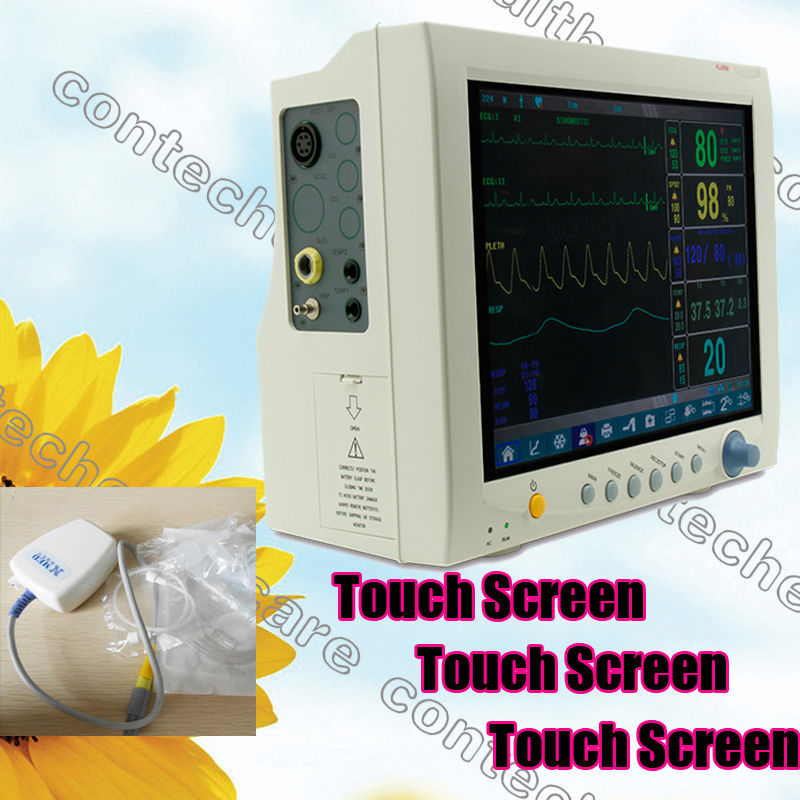 CE,FDA,Touch ICU Patient Monitor with3/5 lead ECG,RESP,SpO2,NIMP,TEMP,Free EtCO2