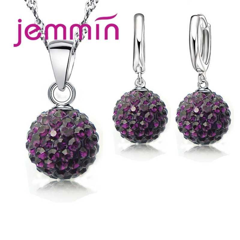 JEMMIN Neue Mode Große Förderung S90 Kristall Schmuck Halskette Anhänger Ohrring Zirkonia Für Frauen Braut