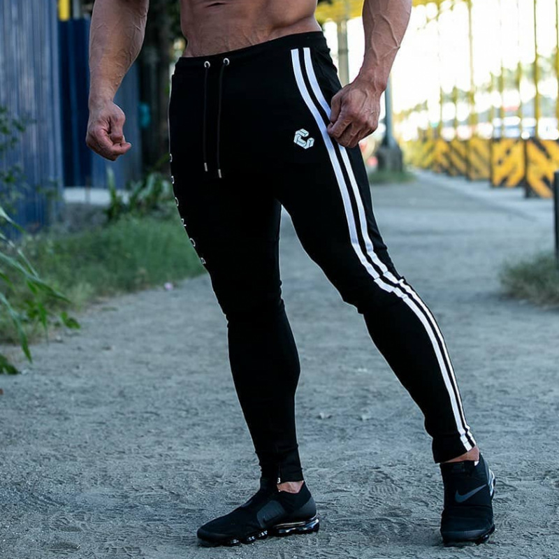 2019 Men's Casual Fitness Joggers Pants Gyms Stretch Cotton Men Skinny Sweatpants Slim Workout Zipper Ankle Trousers Men