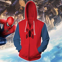 2018 Autumn Winter Spider Zip Up Hoodie Man Hoodies Sweatshirts Superhero Cosplay Hooded Coats Zipper jacket zip up two tone hooded track jacket