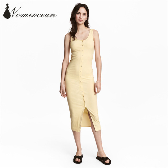 f6051171663bc4 Sexy Front Button-up Midi Dresses Solid Color Sleeveless Tank Dress 2017  Summer New Arrival Mid-calf Bodycon Dress M17071719