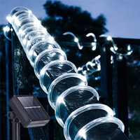 12M 100 LEDs Solar Rope String Lights Waterproof Copper Wire Outdoor Tube Fairy String Light for Christmas Garden Yard Path Tree