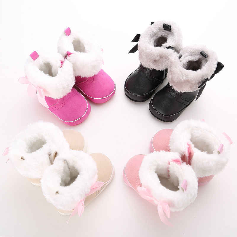 Cute Infant Toddler Baby Girl Soft Sole Crib Shoes Sneakers Newborn Bow Boots for 0-18M
