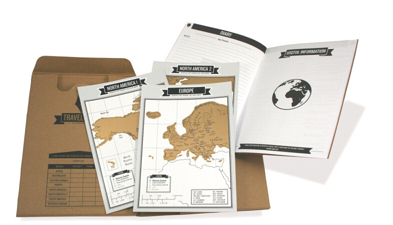 Popular Travelogue map Scratch Map Travel log tourist maps Notebook Best Travel Gift with 8 mini World Map 1dea me карта travel map marine world