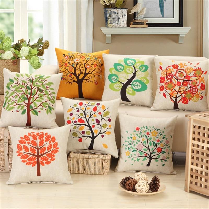Nordic rustic style beautiful plant tree print cushion cover linen set chic home sofa pillow case set garden decoration 45x45
