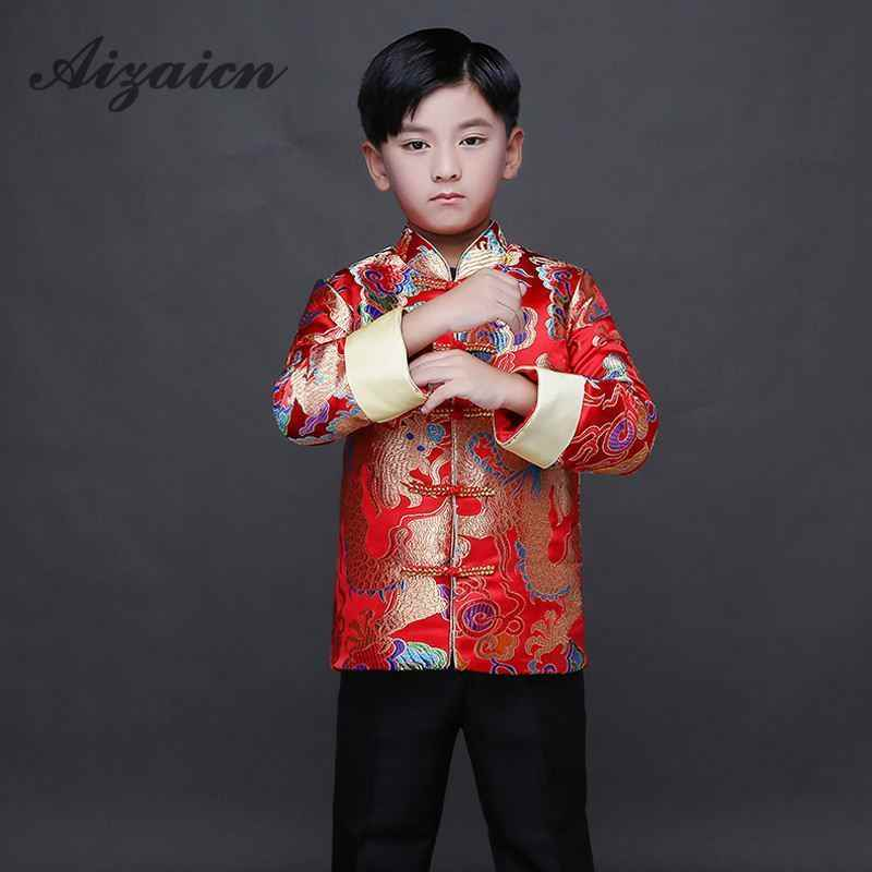 c179686be7af2 Traditional Chinese Dress Dragon Costume Baby Cheongsam Kids Satin ...