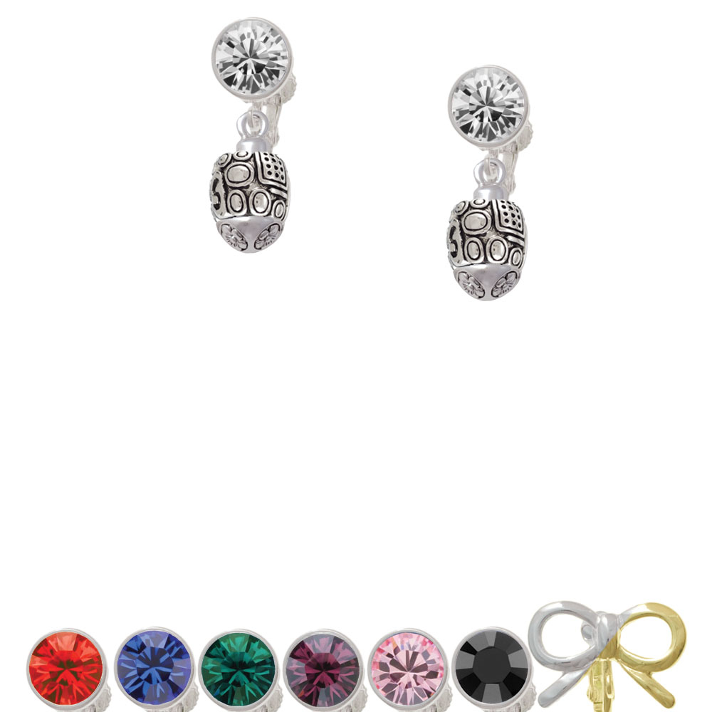 Fancy Geometric Pattern Spinner Crystal Clip On Earrings цена