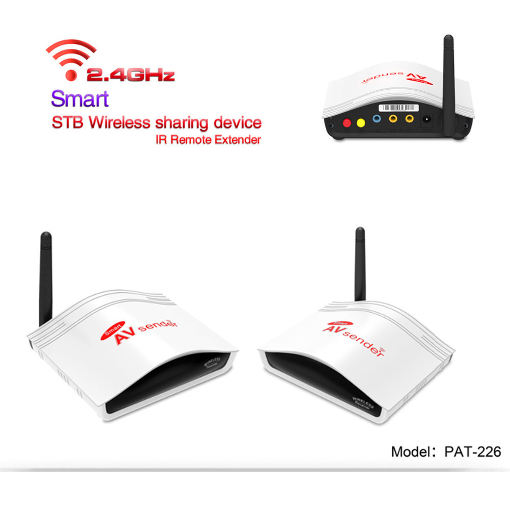 PAT-226 2.4G Wireless AV Swtich Audio Video Transmitter Receiver Sender + IR Extended For DVD Android DVB-S2 Satellite Cable TV