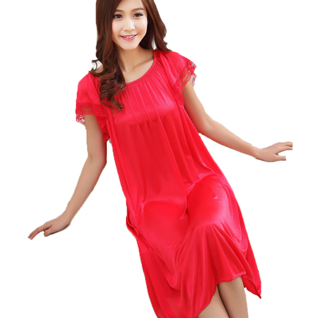 Summer Dress Womens Long Silk Nightgown Female Sexy Lace Short Sleeve Silk Sleepwear Nightdress Sleeping Dress Indoor Clothing