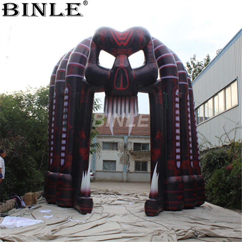 5x5m Large halloween party outdoor inflatable skull arch airblown skeleton archway for advertising decoration air shipping christmas archway airblown animated inflatable gingerbread house with led lights for yard decoration