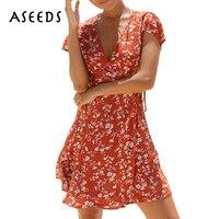 خمر الأزهار طباعة جنسي اللباس المرأة الصيف الشاطئ اللباس 2017 عميق الخامس الرقبة بوهو حزب فساتين أنيقة قصيرة الأكمام مصغرة vestidos