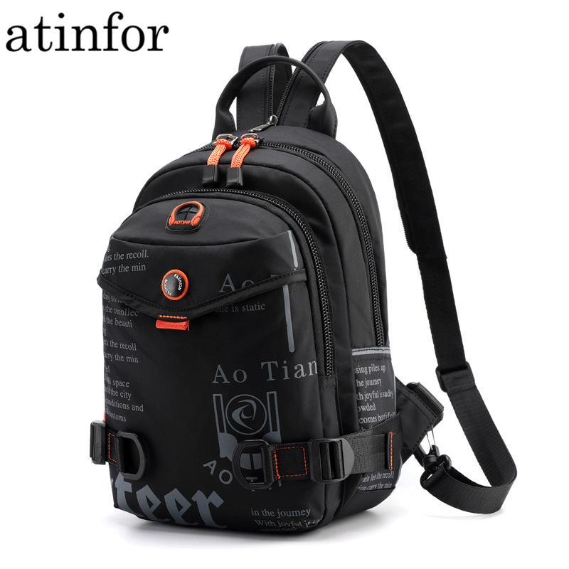 Street Brand Waterproof Headphone Cable Hole Small Backpack Men Shoulder Travel Bag