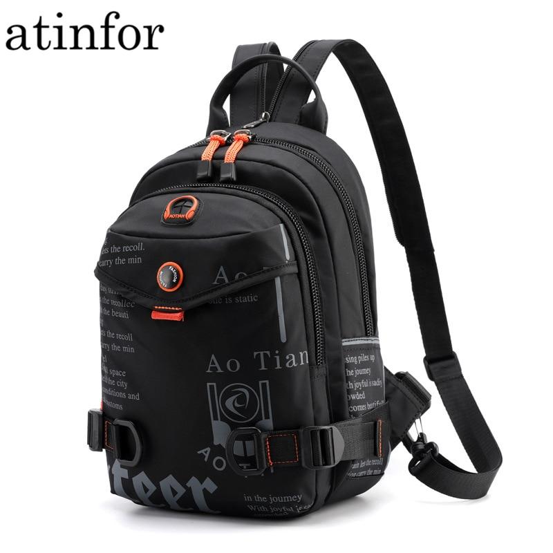 Street Brand Waterproof Headphone Cable Hole Small Backpack Men Shoulder Travel BagBackpacks   -
