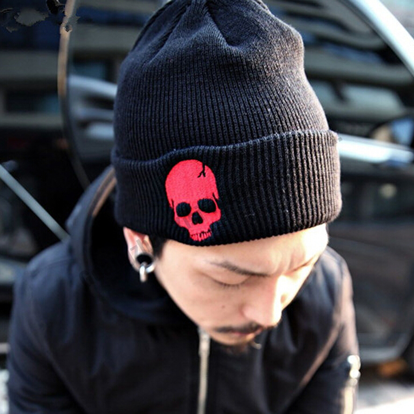 8e13e0f2a03 2016 Skull Pattern Casual Beanies for Men Women Fashion Knitted Winter Hat  Solid Color Hip-