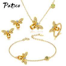 Luxury Women Wedding Necklace Earrings Rings Bracelets Bridal Gold Color Jewelry Set Cubic Zircon Crystal Anniversary Gift цена