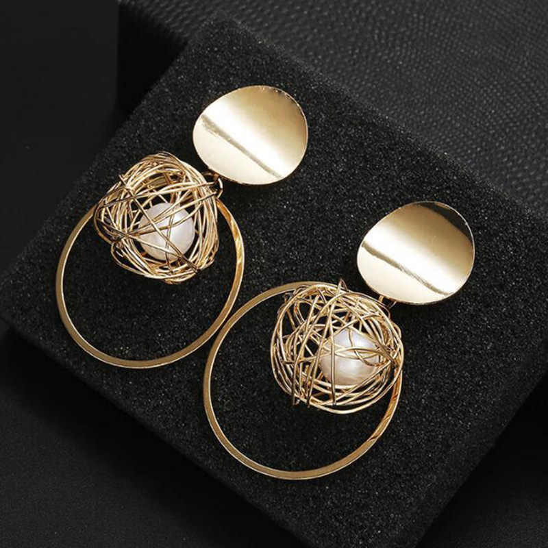 New Fashion Drop Earrings For Women Golden Color Round Ball Geometric Earrings For Party Wedding Gift Wholesale Ear Jewelry